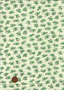 100% Cotton Fabric Vintage Seersucker Small Green Roses Patchwork Craft
