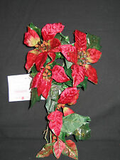 Home Interiors~Holiday Velvet Poinsettia Mini Ping Vine Red Green & Golden~NWT