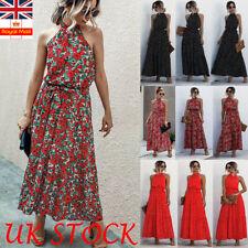 UK Womens Polka Dot Floral Holiday Long Dress Halter Neck Summer Maxi Sundress