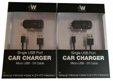 Just Wireless Single USB Port Car Charger with 5 ft Black Micro USB Cable 2 Pack