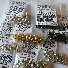 "175) BRASS BARBELL assortment 1/8"" 5/32"" 3/16"" GOLD SILVER hourglass fly tying"