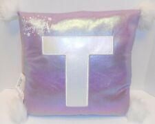 "Justice Purple Pillow Initial Letter T Pom Poms New Bedroom 12"" Square Plush"