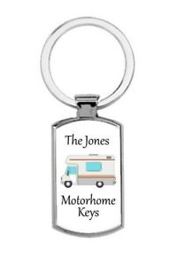 Personalised rectangular Motorhome Keys Metal Keyring Gift Present