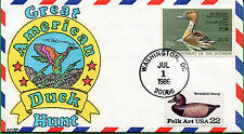 US #RW53 Hand Painted Duck First Day Cover 07/01/86 - Kribb's Kover - S8145