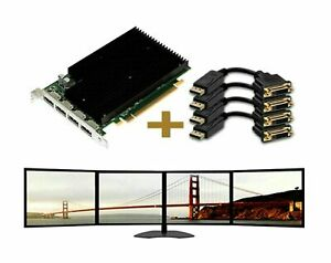 NVIDIA Quadro Nvs 450 512MB Pcie Quad Monitors Graphics Card + 4 DVI/VGA Cables