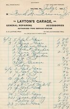 Letterhead Receipt Layton's Garage Authorized Ford Service Dalton PA 1925