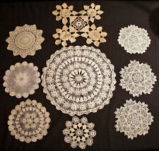 ANTIQUE LACE IRISH CROCHET 9 ROUND DOILY LOT COLLECTION
