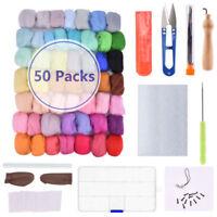 50 Colors Wool Fibre Roving DIY Needles Felting Starter Kit Handcraft Mat Tools