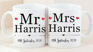 MR & MRS Matching Couple wedding Hubby Wifey His Hers Valentines Day Gift Mug