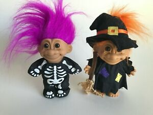 Vintage Halloween Troll Dolls Russ Lot of 2 Skeleton and Witch Great Condition