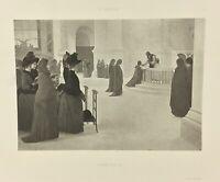 Gravure ancienne à l'eau forte XIXe- A LEROLLE «COMMUNION» salon 1888