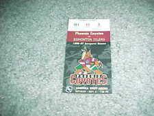 1996 Phoenix Coyotes v Edmonton Oilers Hockey Ticket 1st Home Game 9/21