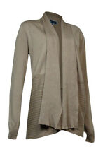 Karen Scott Women's Open Front Draped Long Sleeve Cardigan L, Saddle Tan