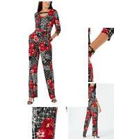 MITU6540 Black L NY Collection Womens Cold-Shoulder Chain Jumpsuit