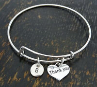 PERSONALIZED Thank you Bangle Bracelet - choose your Initial, Thank you Jewelry