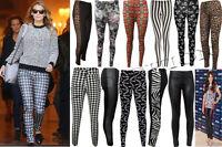 WOMEN'S LADIES FULL LENGTH MULTI PRINT LEGGINGS STRETCH CASUAL PANTS SIZE 8-26