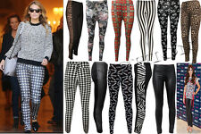 Para Mujer Damas Integral Multi impresión Leggings Stretch Casual Talla Pantalones 8-26