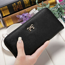 Women PU bowknot Leather Clutch Wallet Long Card Holder Purse Box Handbag Bag