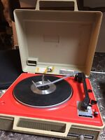 General Electric Portable Record Player Turntable V638 h Orange Vintage Tested