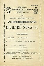 STRAUSS, MENGELBERG, SCHNEEVOIGT (Conductors): Group of 1909 Concert Programs