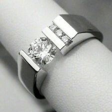 Men's Ring Engagement Wedding Ring Certified 2.78Ct Round Diamond 14K White Gold