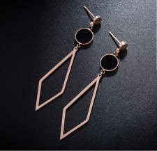 Women Rose Gold Geometry Tassel Cross Diamond Stainless Steel Stud Earrings S12