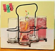 Highball 9 oz. Beverage Drinkware Glasses in Black Deco Metal Rack Caddy Holder