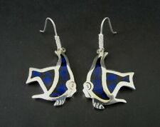 Taxco Earrings Sterling Blue Stone Inlay Angel Fish Dangle Silver 925 Mexico