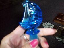 Ship bottle stopper royal blue clear resin/hard plastic 2 1/2 inch nice