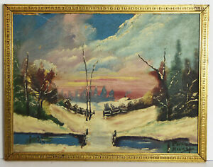 "15"" Antique Oil Painting Cardboard Signed Preston Moore Winter Landscape Forest"