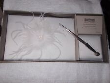 NEW Celebrate It White Feathers Rhinestone Pears Wedding Guest Book & Pen Set