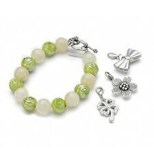 TOP Trendy Armband Armschmuck mit Glasperlen Perlen und 3 Anhängern grün Neu