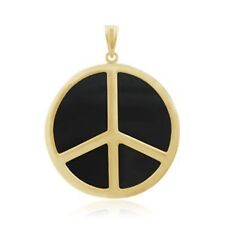 SALE! Solid 14k Y.Gold Agate Peace Pendant Charm