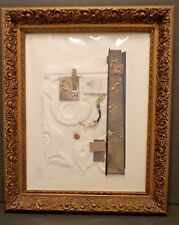 Kathy Sheldon Michigan Artist Mixed Media Relief Collage Framed, Signed & Unique