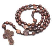 Superior Wood Catholic Jesus Cross Bead Carved Rosary Pendant Necklace Elegant
