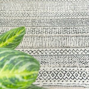 Grey Tribal Rug Large Small Striped Living Room Moroccan Berber Popular Mats NEW