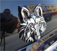 Auto Motorrad Aufkleber 3D Chrom Wolf Wolfkopf Metall Emblem Badge Sticker Decal