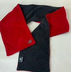 "New Balance Winter Scarf Fleece Red Gray Outdoors Ski Rectangle Wrap 60"" X 9"""