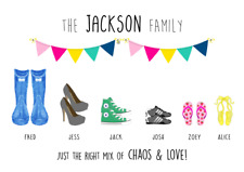 Personalised Family Shoes Print! Personalised Family Print! UK Seller!