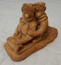 Penellen Vintage Statuette Boy & Girl on Sled; made in 1972 in Cleveland, OH