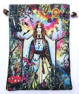 SALE Tarot deck crystal pouch bag Pagan Wicca witch jewellery gift Oracle