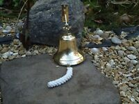 Large Ships Bell Silver Nickel with Rope 1 K in weight Nautical Bar Pub Desk