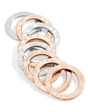 $365 PIANEGONDA 8 pc .925 SILVER GOLD VERMEIL STACK RINGS sz 7 NECKLACE PENDANT