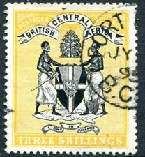 BRITISH CENTRAL AFRICA-1895 3/- Black & Yellow Sg 27 FINE USED V25797