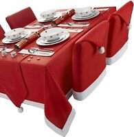 Santa's Table Red & White Christmas Festive Dinner Party Fleecy Tablecloth