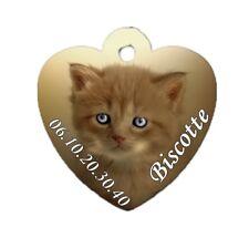 Médaille coeur chat chaton personnalisée avec nom et n°de téléphone