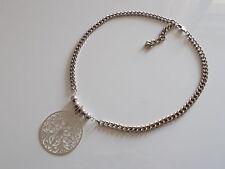 Collier Estampe Grosse Chaine Argent Huge Silver Filigrane Necklace Fashion Boho