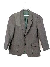 Pendleton Mens Wool 46 Long Jacket Blazer Suede Gray Shoulder Hunting Patch