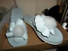UGG Women's Poppy Flat Sandal  Blue Pom Pom Flower Flip Flop Shoes  SZ 8