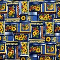 Sunflowers Patchwork Cotton Fabric Vibrant Colors On Blue Cranston Print BTY